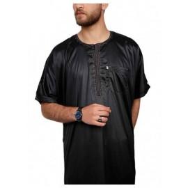 Half sleeve Black Polyester thobe